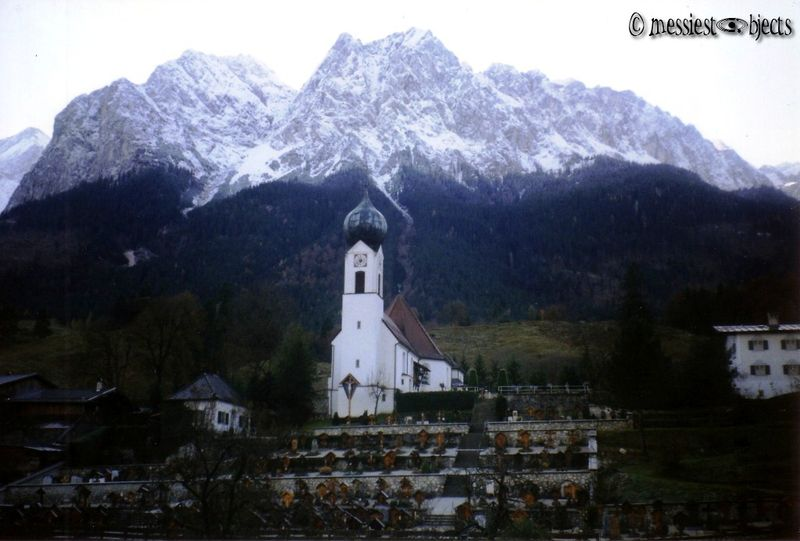 Church in the shadow of the Zugspitze, the Highest Alp in Germany