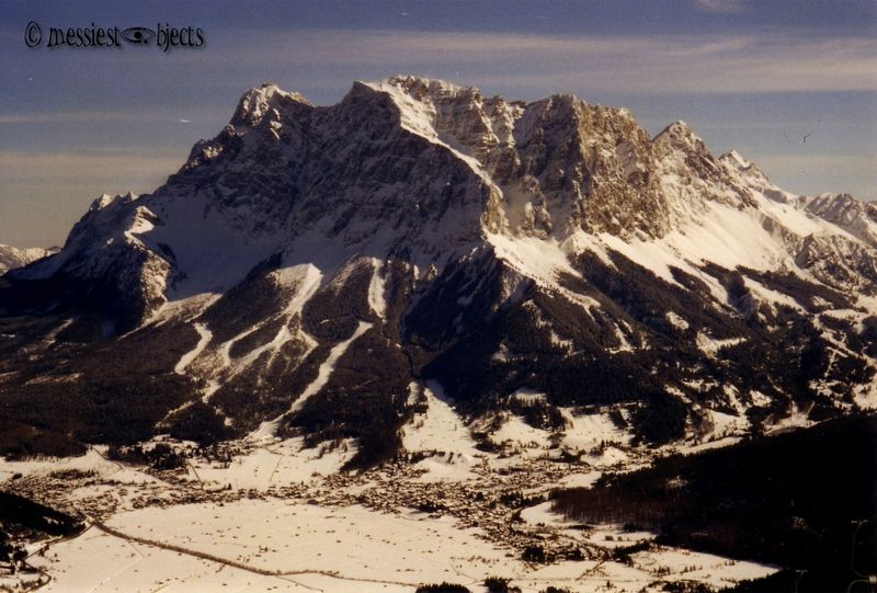 A view of the Zugspitze, the Highest Alp in Germany, From Lermoos in Austria