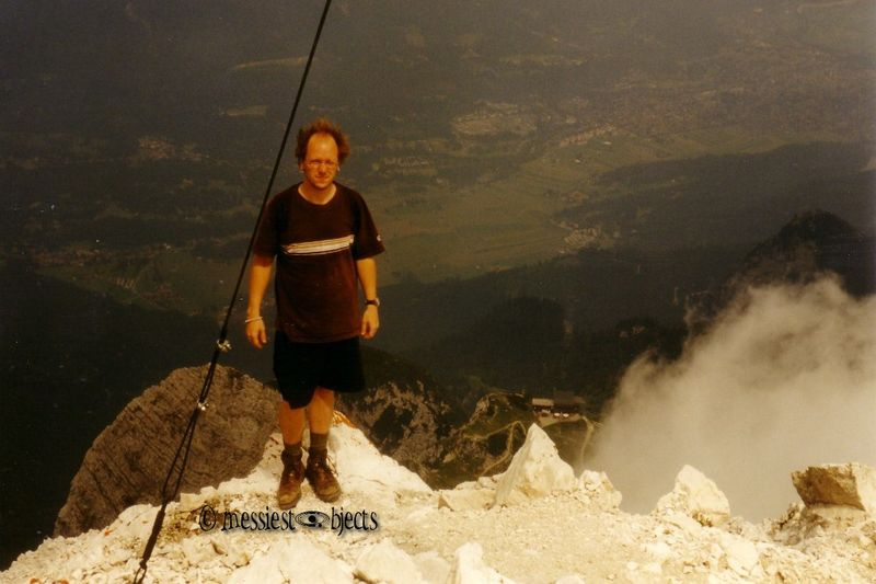 You see why I shave my head now. I'm on top of the Alpspitze after a rather harrowing hike