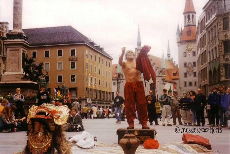 Fakir in the Marienplatz in Munich, Germany