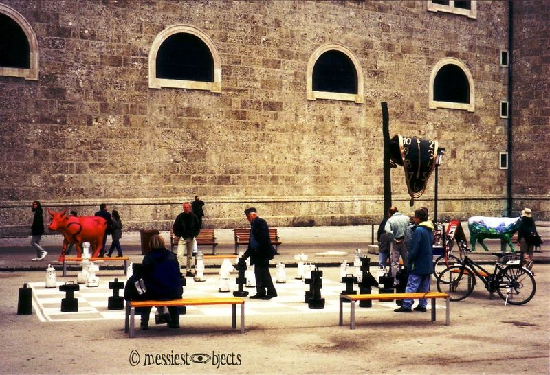Big Chess game with Picasso sculpture in Salzburg, Austria